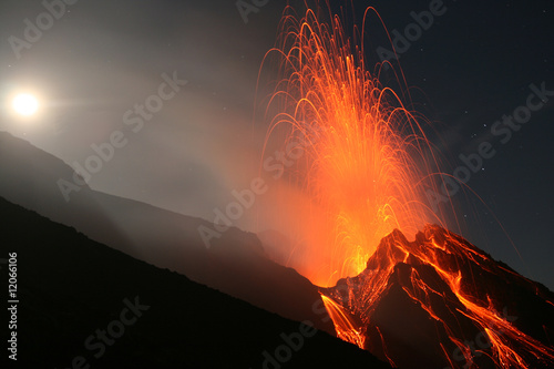 Night eruption on top of Volcano Stromboli - 12066106