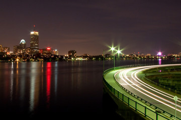 View of Boston skyline at night