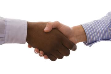multiracial handshake