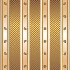 Striped decorative background in coffee and golden tones