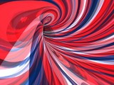 abstract psychedelic image of swirling red white and blue lines poster