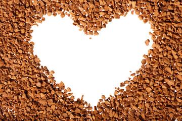 Instant coffee grains around heart contour