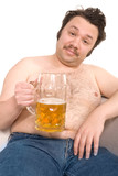 Overweight man with a beer glass poster