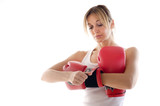 sporty woman putting on her boxing gloves poster