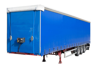 Disengaged trailer from a Semi Truck isolated on white