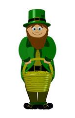 leprechaun With Pot Of Gold - Saint patricks Day