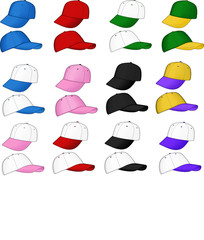 A variety of sports caps - vector illustrations