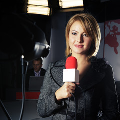 television news reporter in live transmission