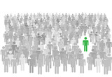 Individual person stands out from large crowd of symbol people poster