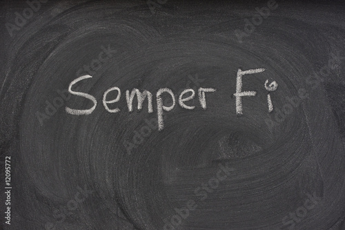 Semper Fi handwritten on a blackboard