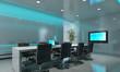 boardroom in blue light