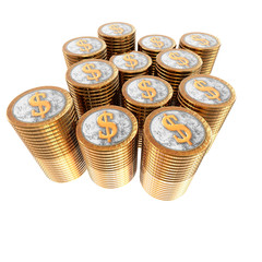us dollar coins coins isolated on a white