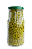 Glass jar with conserved green peas poster