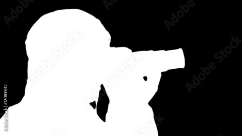 Photographer silhouette against black - HD