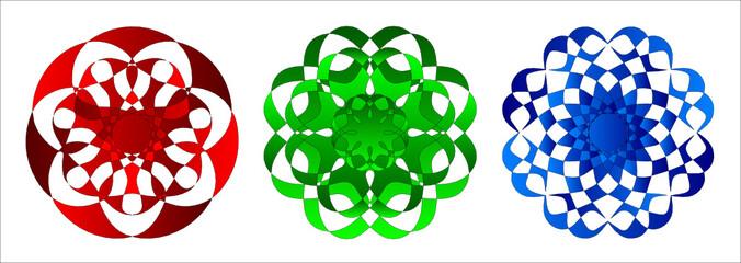 Mandalas - rot, grün, blau