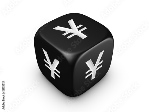 black dice with yen sign