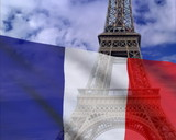 French flag on a background of the Eiffel Tower. PAL poster
