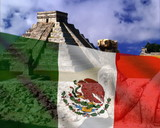Mexican flag on a background of the Pyramid. PAL poster