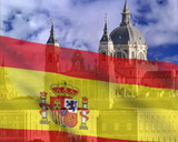 Spanish flag on a background of sky The Cathedral ALmudena. PAL poster