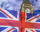 England flag on a background bigben, PAL. There are formats NTSC poster