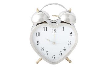 Heart-shaped chrome alarm clock isolated 1