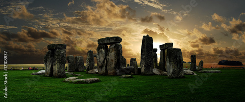 Leinwanddruck Bild Stonehenge at sunset