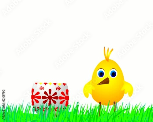 Chick jumping from Easter Egg