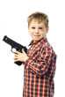 little boy with a gun