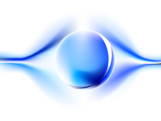 Sphere reflection with blue energy