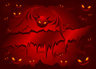 Evil bats on red background
