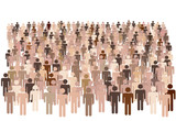 Diverse population of symbol people form large group poster