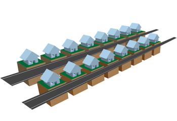 Rows of row houses on street blocks