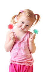 little girl with candy isolated on white