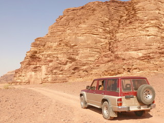 Jeep on a desert.