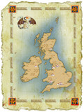map of Great Britain in age-old style with a dragon poster