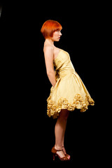 Redhead in yellow dress