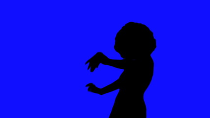Afro chick against blue background - HD