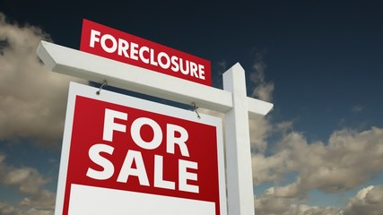 Foreclosure Home for Sale Sign with Dramatic Time-Lapse Clouds