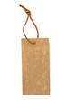 étiquette cartonnée avec cordonnet en cuir