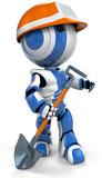 Blue Robot Hardhat Working Class poster