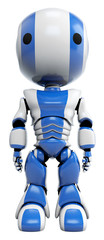 Blue Robot Standing Straight front View