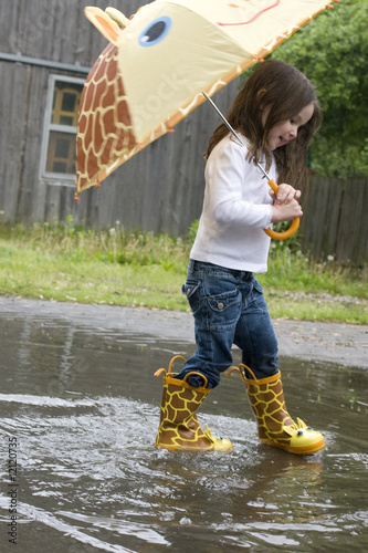 Girl Splashing in the Rain
