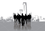 Business people meeting with metropolis background poster