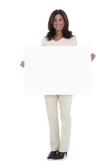 Woman holding a big blank sign