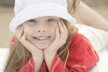 Portrait of a beautiful girl in hat