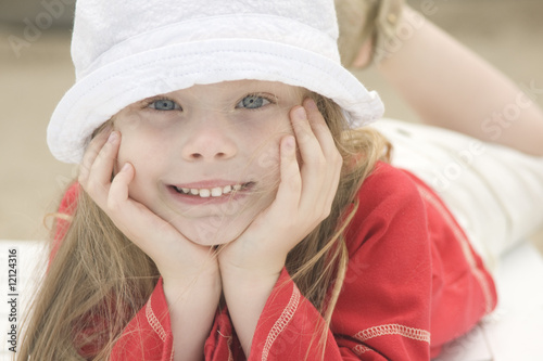 Portrait of a beautiful girl in hat