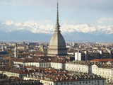 Turin with Mole Antonelliana(famous ugly wedding cake building poster