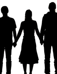 silhouette of a woman and two men holding hands
