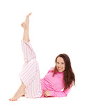 merry young woman in pink pajamas poster