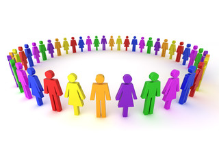 Multi colored people illustration